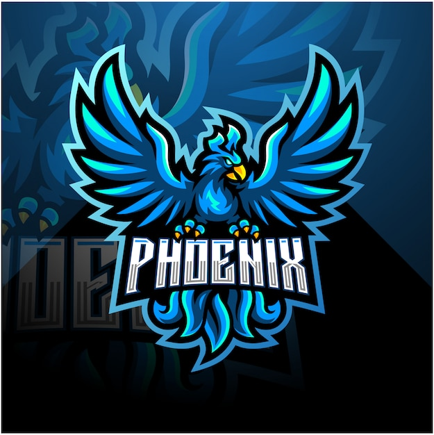 Blaues phoenix esport maskottchen logo design Premium Vektoren