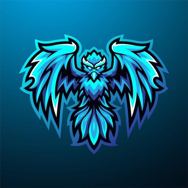 Blaues phoenix esport maskottchen logo Premium Vektoren