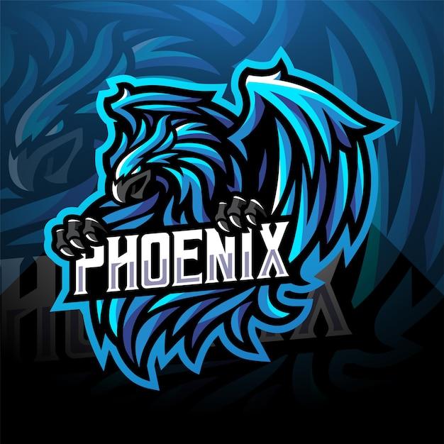 Blaues phoenix sport maskottchen logo design Premium Vektoren
