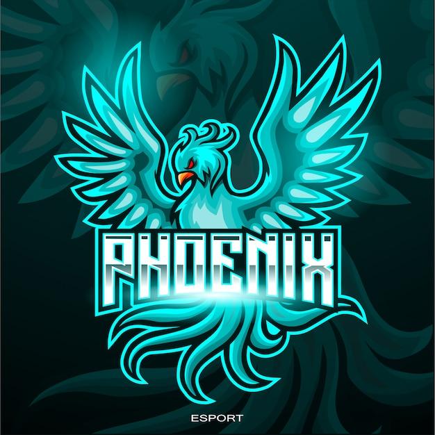 Blaues phönixvogel-esport-logo-design Premium Vektoren