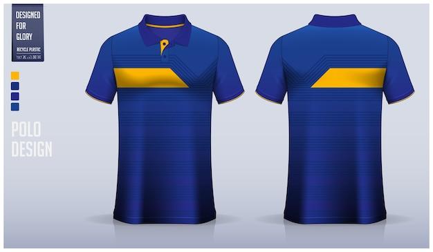 Blaues poloshirt-schablonendesign, sportuniform und freizeitkleidung. Premium Vektoren