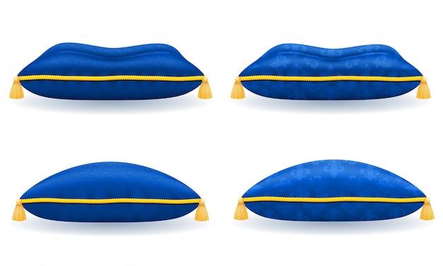 Blaues samtkissen aus satin mit goldenem seil und quasten Premium Vektoren