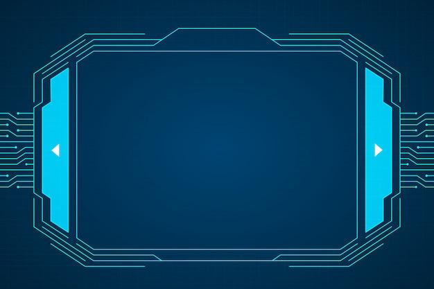 Blaues schaltungstechnologie-schnittstellenhud-hintergrunddesign. Premium Vektoren