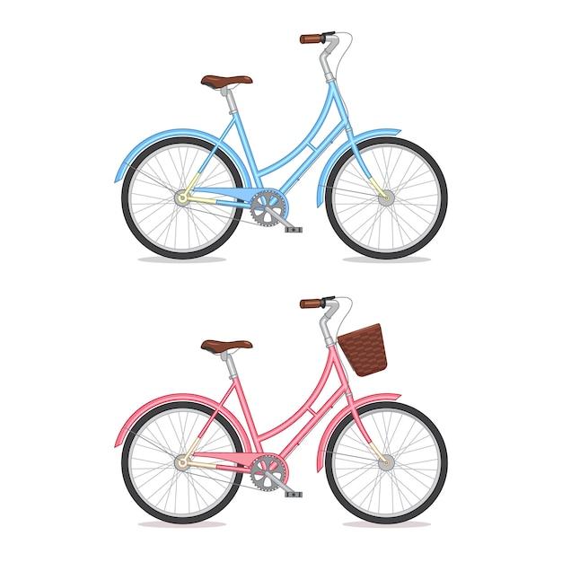 Blaues und rosafarbenes retro- fahrrad mit dem korb lokalisiert auf weißem hintergrund. buntes fahrrad Premium Vektoren