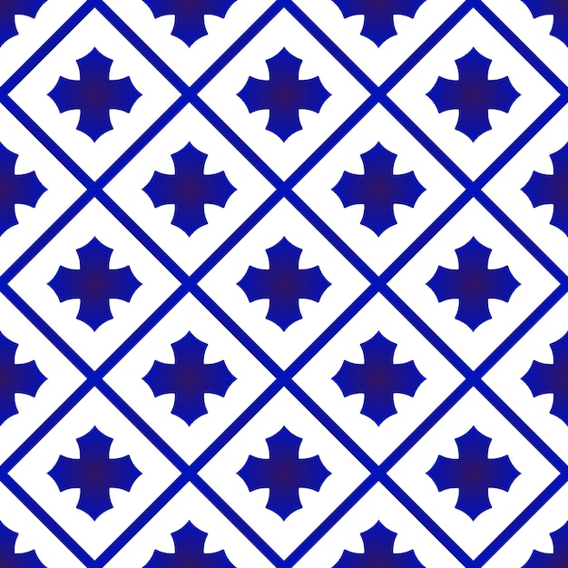 Blaues und weißes keramisches thailändisches muster Premium Vektoren