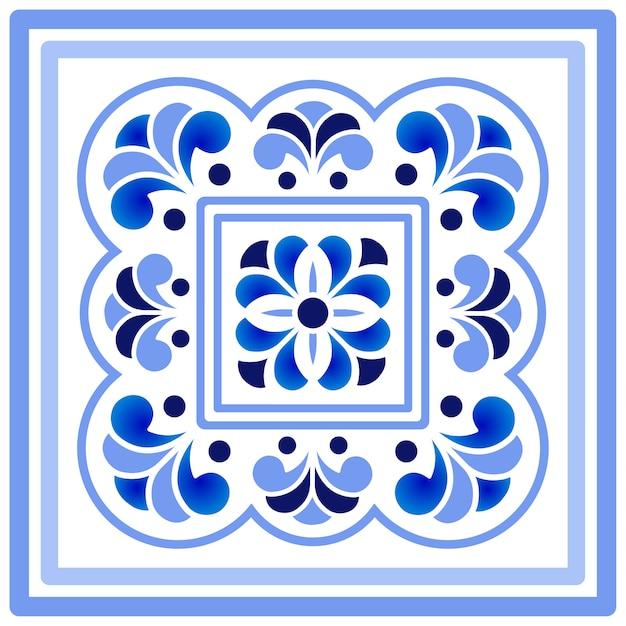 Blaues und weißes porzellanblumenmuster Premium Vektoren