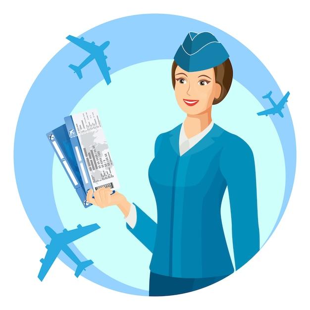 Blaues uniformiertes flugbegleiterlächeln Premium Vektoren