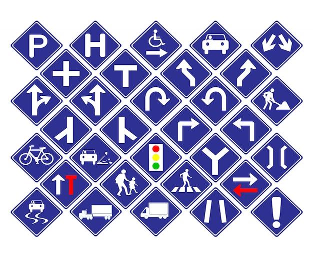 Blaues verkehrsschild der verkehrsdiamant-form Premium Vektoren