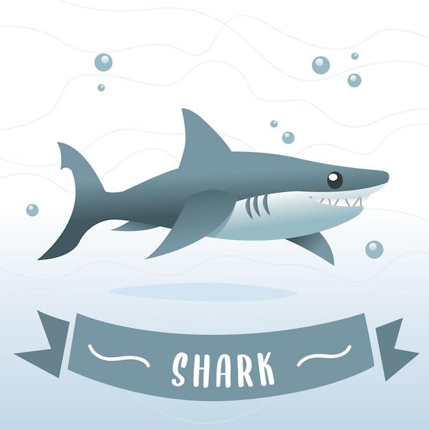 Blauhai-karikatur, haifischzeichentrickfilm-figur im vektor. lächelnde haifischkarikaturillustration Premium Vektoren