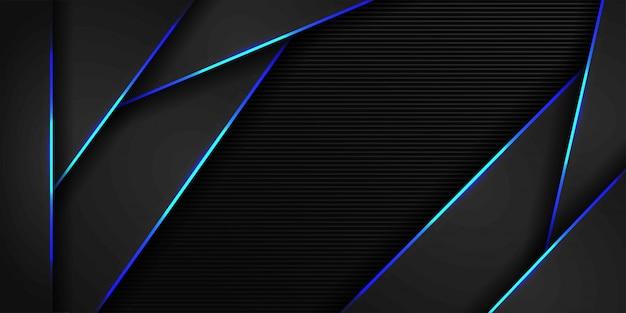Blaulicht und dunkelgrau des futuristischen hintergrundes des metallischen polygons Premium Vektoren
