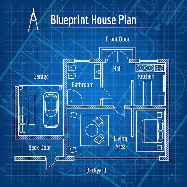 Blaupause hausplan. design architektur nach hause, zeichnungsstruktur und plan. vektorillustration Kostenlosen Vektoren