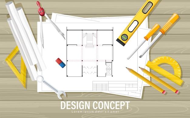 Blaupausenentwurfskonzept mit architektenwerkzeugen auf holztisch Kostenlosen Vektoren