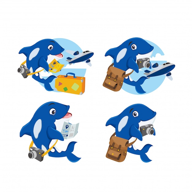Blauwal-maskottchen für das logo des reisenden Premium Vektoren