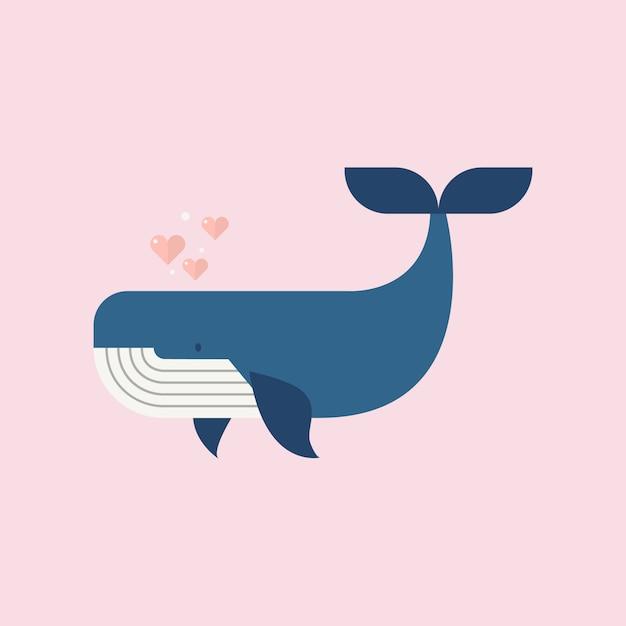 Blauwal mit herzen Premium Vektoren