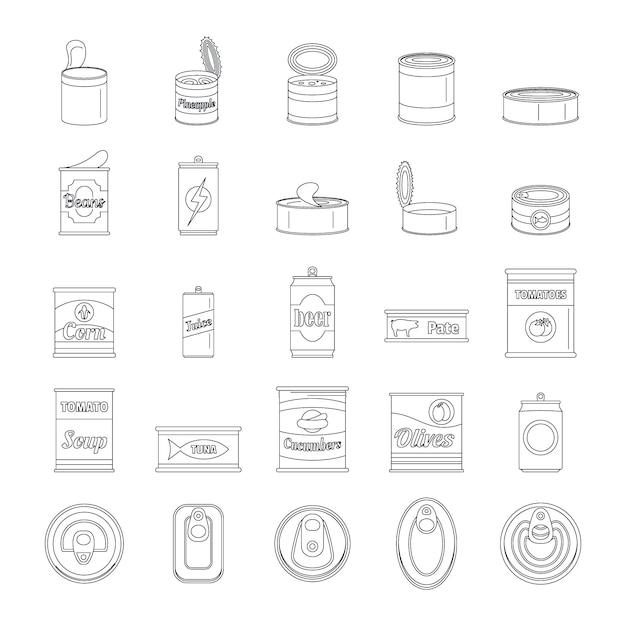 Blechdose-lebensmittelverpackungsglasikonen eingestellt Premium Vektoren