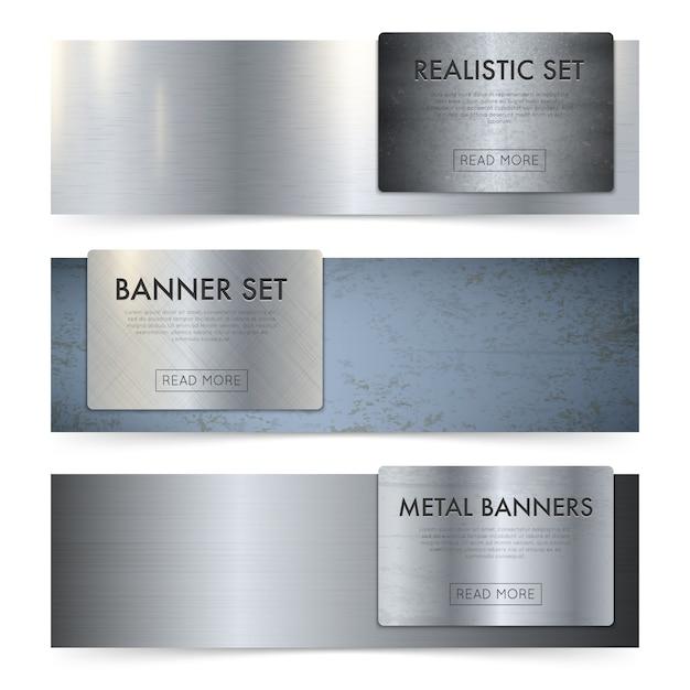 Blechtafeln textur realistische banner set Kostenlosen Vektoren
