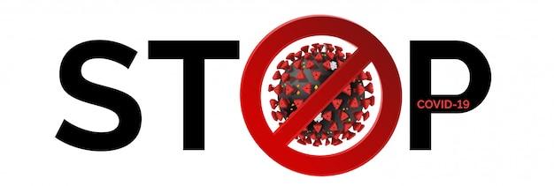 Bleib zu hause, hör auf mit coronavirus. konzeptzeichen, um zu verhindern, dass sich covid-19 mit schwarzem text auf weißem hintergrund ausbreitet. lockdown-pandemie zur beendigung der quarantänewarnung für coronavirus in europa, usa. Premium Vektoren