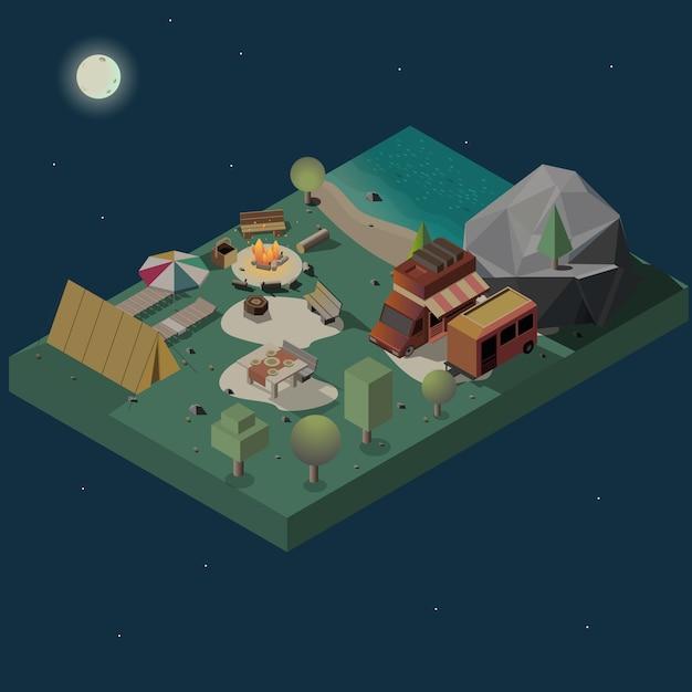 Bleiben sie nachts auf dem isometrischen vektor des campingplatzes Kostenlosen Vektoren