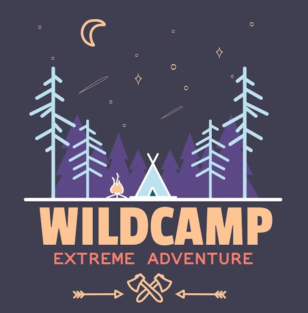 Bleiben sie wild camping kind Premium Vektoren