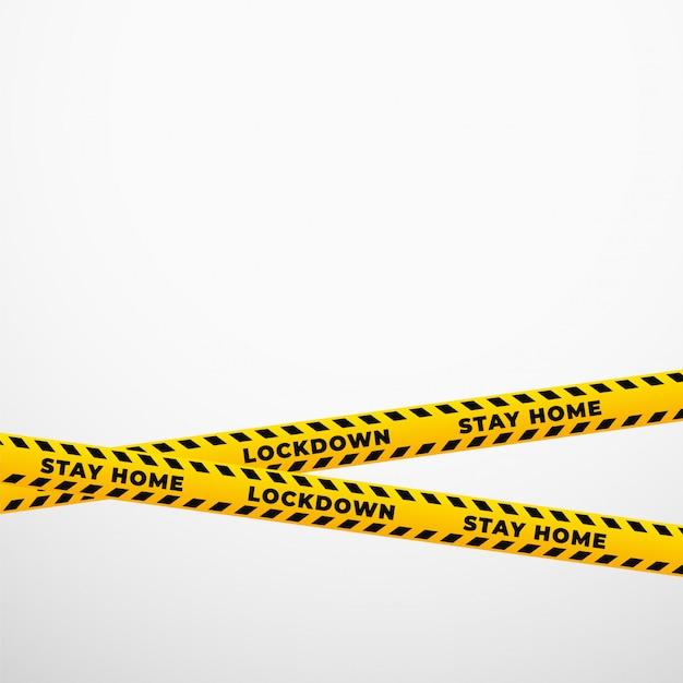 Bleiben sie zu hause lockdown gelben restriktionsband hintergrund Kostenlosen Vektoren