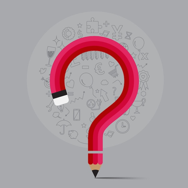 Bleistift beugt form zum fragezeichenformular mit ikone vor Premium Vektoren