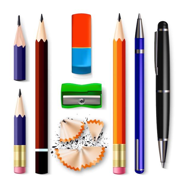Bleistift briefpapier set Premium Vektoren