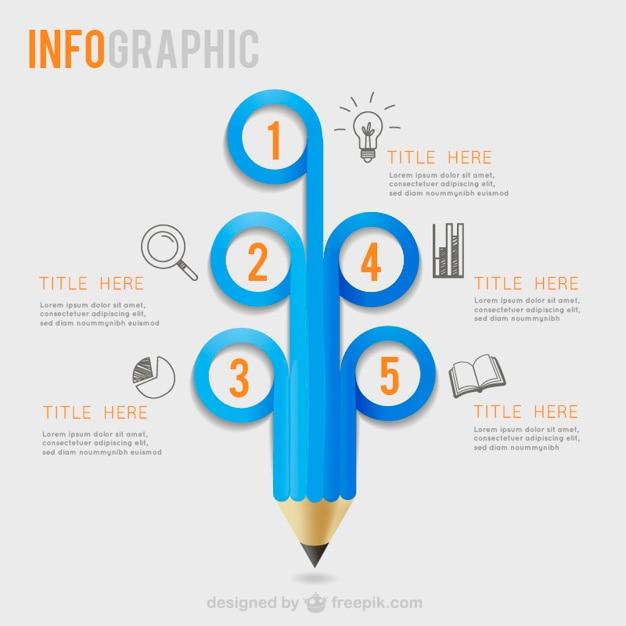Bleistift infografik vorlage vektor Premium Vektoren