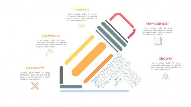 Bleistift mit mehrfarbigen linien gezeichnet und von linearen piktogrammen, überschriften und textfeldern umgeben. konzept des ausfüllens und notierens von formularen. Premium Vektoren