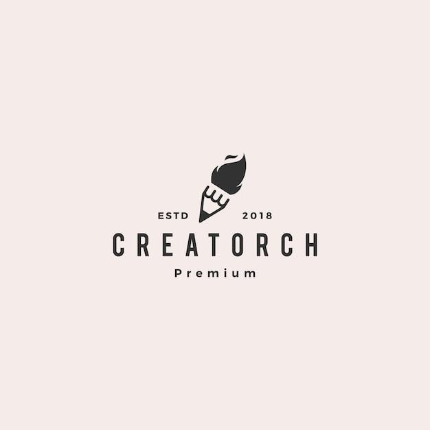 Bleistiftfackelfeuerlicht-logo-vektorillustration Premium Vektoren