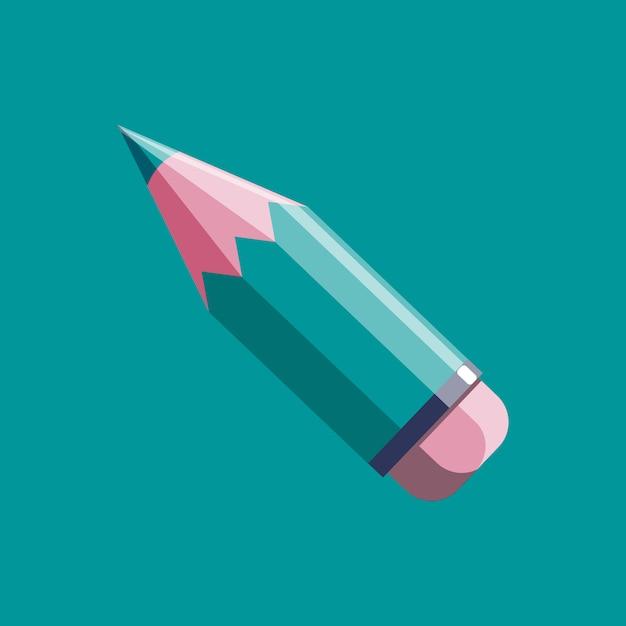 Bleistiftvektorikone in der modernen flachen art Premium Vektoren