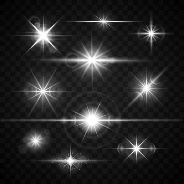 Blendenfleck blendet lichteffektvektorsatz. glänzende sterne lokalisiert auf kariertem hintergrund illustra Premium Vektoren