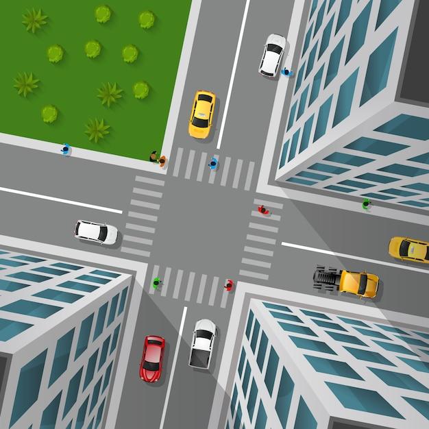 Blick auf die stadtstraße Kostenlosen Vektoren