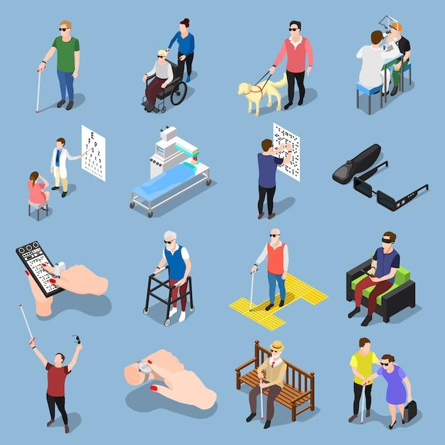 Blinde menschen setzen Kostenlosen Vektoren