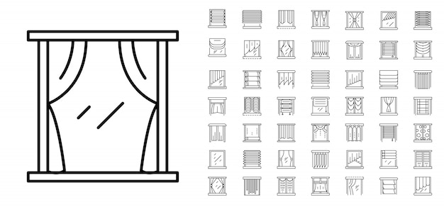 Blindes fenster-icon-set. umrisssatz blinde fenstervektorikonen Premium Vektoren