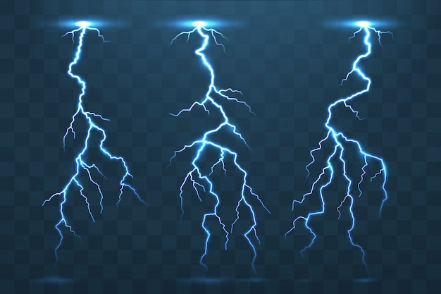 Blitz und donner, gewitterstrom blitzen auf Premium Vektoren