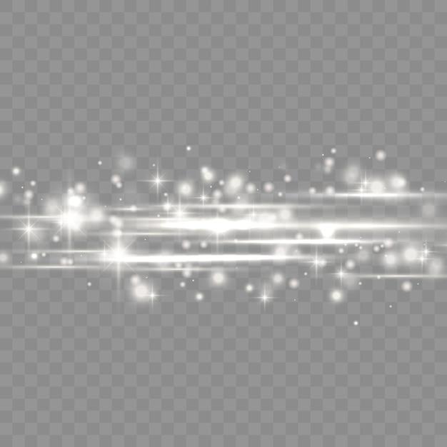 Blitz weiß horizontale linse flares pack, laserstrahlen, horizontale lichtstrahlen, schöne licht flare, leuchtend weiße linie, hellgold blendung, vektor-illustration Premium Vektoren