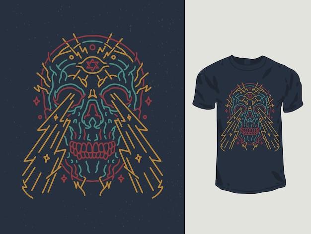 Blitzaugenschädel-monoline-t-shirt-design Premium Vektoren