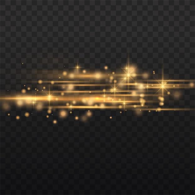 Blitzgelbe horizontale linsenfackelpackung, laserstrahlen, horizontale lichtstrahlen, schöne lichtfackel, leuchtend gelbe linie, hellgoldene blendung, vektorillustration Premium Vektoren