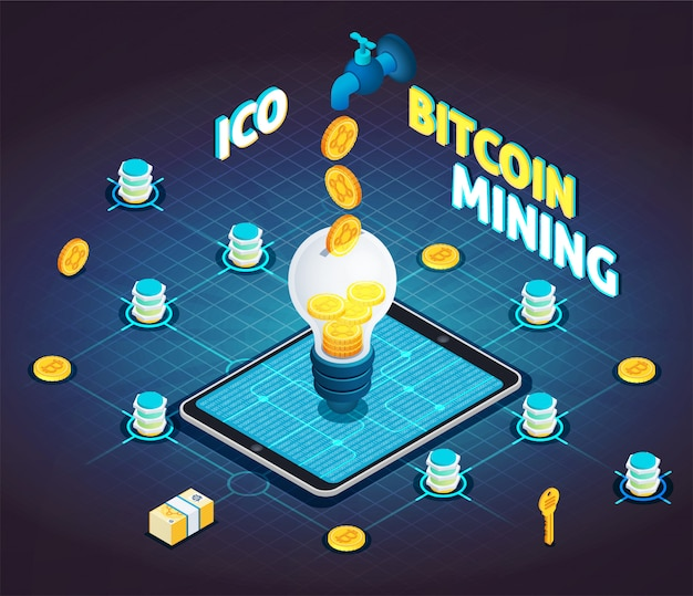 Block chain cryptocurrency isometric flowchart Kostenlosen Vektoren