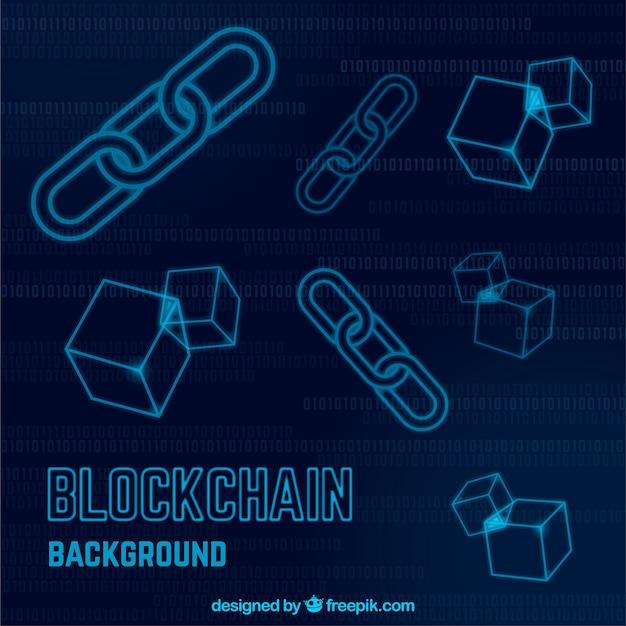 Blockchain hintergrund mit symbolen Kostenlosen Vektoren