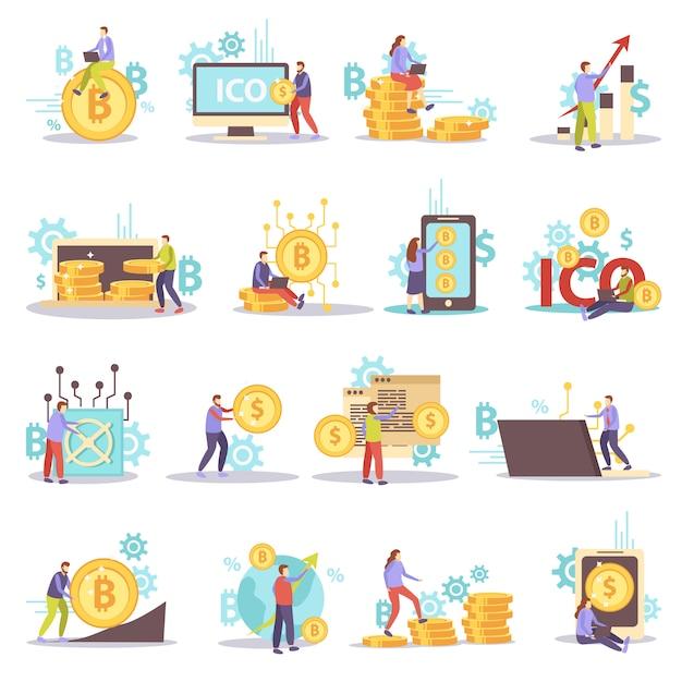 Blockchain kryptowährung business flat icons isoliert eingestellt Kostenlosen Vektoren