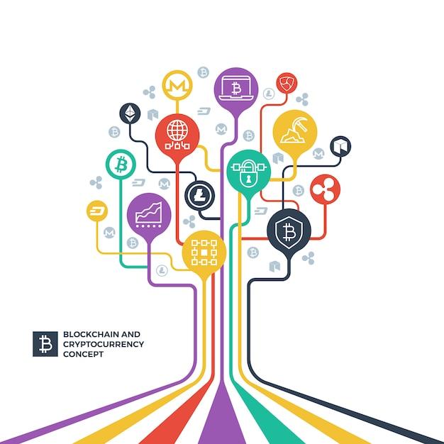 Blockchain, kryptowährung-kryptographie und datenverteilungsvektorkonzept Premium Vektoren