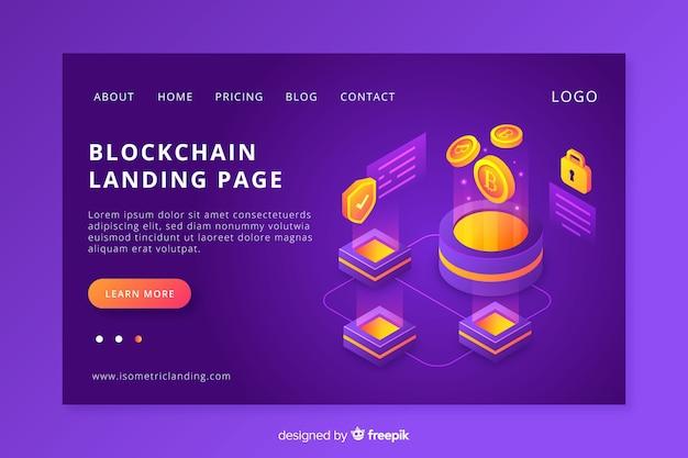 Blockchain landing page Kostenlosen Vektoren