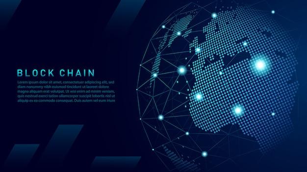 Blockchain-technologie mit globalem anschlusskonzept Premium Vektoren