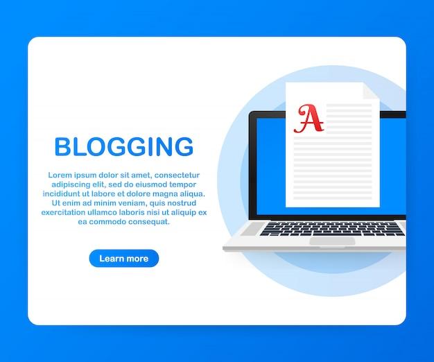 Blog-inhalt, bloggen, post-konzept für webseite, banner, präsentation, social media, dokumente. . Premium Vektoren