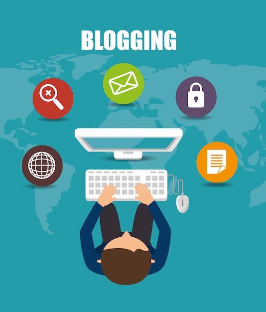 Blog-management-design Premium Vektoren