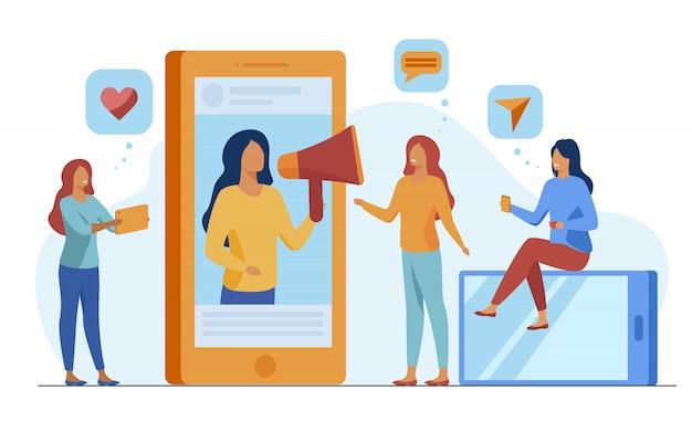 Blogger, der produkte oder dienstleistungen in sozialen medien bewirbt Kostenlosen Vektoren