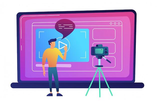 Blogger, der videoblog mit kamera für internetvektorillustration aufzeichnet. Premium Vektoren