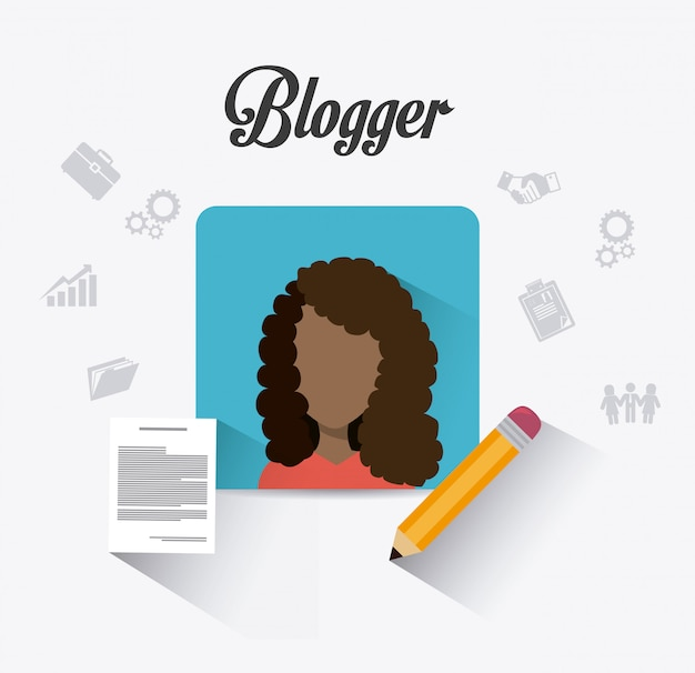 Blogger digitales design. Premium Vektoren