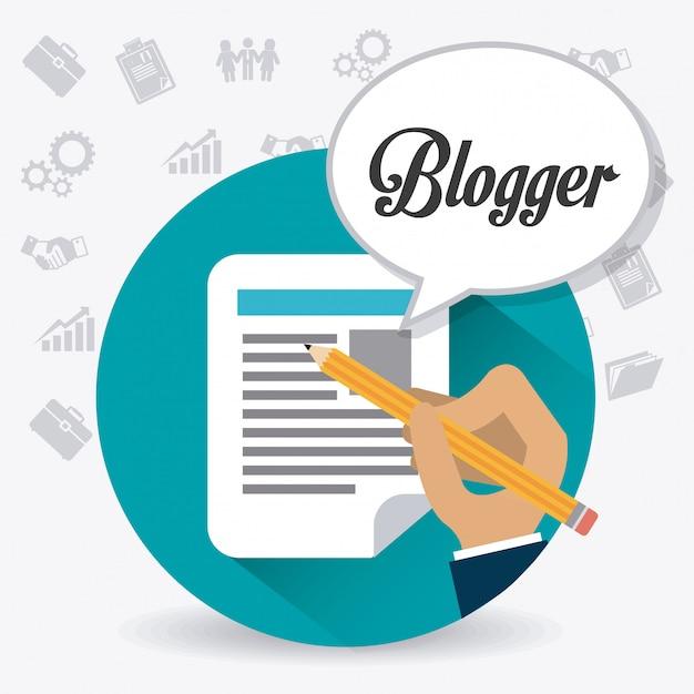 Blogger digitales design. Premium Vektoren